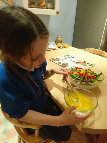 Wee chef making chicken salad p106 from the mountain cafe cookbook